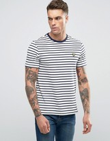Lyle & Scott Breton Stripe T-Shirt Eagle Logo In Off White