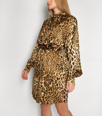 New Look Gini London Leopard Print Long Puff Sleeve Dress
