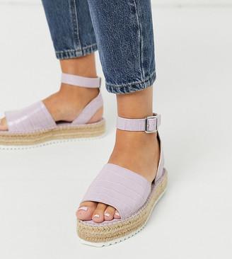 ASOS DESIGN Wide Fit Jupiter flatform espadrille sandals in lilac croc