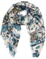 Burberry Floral Print Wool & Silk Scarf