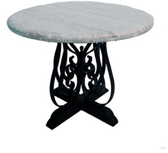 "Rustic Elegant Dining Table with Wrought Iron Legs and a 48"" Round Travertine Top Mexports by Susana Molina"