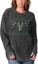 G Iii Women's G-III Sports by Carl Banks Black Milwaukee Bucks Slouchy Comfy Cord Crewneck Pullover Sweatshirt