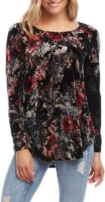 Karen Kane Floral Velvet Burnout Long Sleeve Top