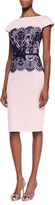 Short-Sleeve Lace-Middle Belted Cocktail Dress, Pale Pink/Navy