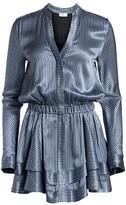 Ramy Brook Alanis Metallic Stripe A-Line Shirtdress