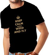 lepni.me N4048 T-shirt male Keep calm smoke and fly gift ( Black Gold)
