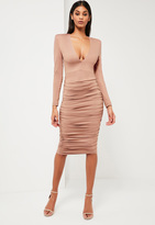 Missguided Nude Ruched Plunge Neck Midi Dress