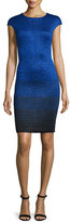 St. John Metallic Degrade Peekaboo Cap-Sleeve Dress, Azzurine Multi