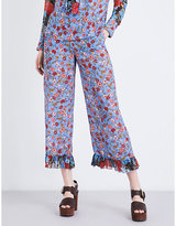 See by Chloe Floral-print wide-leg crepe de chine trousers
