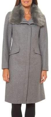 Vince Camuto Faux Fur-Trim Wool-Blend Coat