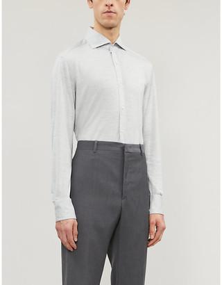 Brunello Cucinelli Slim-fit silk and cotton-blend shirt
