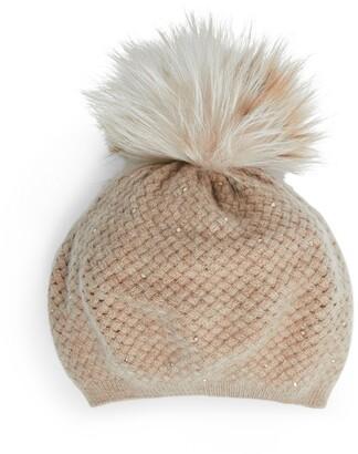William Sharp Embellished Fox Fur-Trim Beret