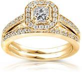 Ice 2/3 CT TW Diamond Polished and Milgrain 14K Yellow Gold Bridal Set