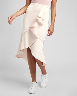 Express High Waisted Satin Ruffle Front Midi Skirt