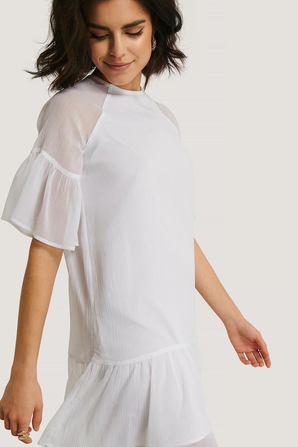 NA-KD Shirred Short Sleeve Dress