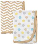 Luvable Friends 2 Piece Cotton Receiving Blankets, Tan Dots by