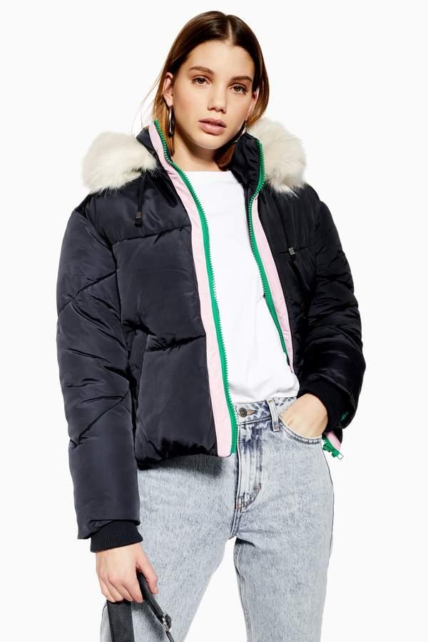 e13214f00 Womens Faux Fur Hooded Puffer Jacket - Navy Blue