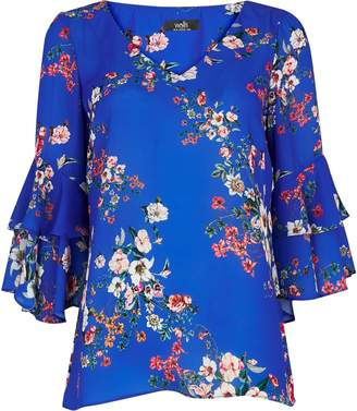 Wallis **TALL Blue Floral Flute Sleeve Blouse
