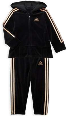 adidas Baby Girl's Two-Piece Zip-Front Velour Hooded Pleated Jacket & Pants Set