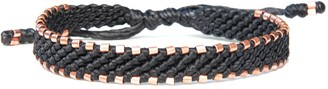 Harbour Uk Bracelets Solid Copper Bracelet For Men All Black. Handmade Of Vegan Cord. Connection