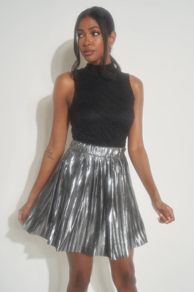 Ardene Metallic Mini Pleated Skirt