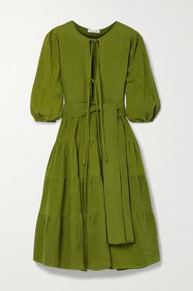 Fil De Vie Net Sustain Medina Belted Tiered Linen Midi Dress - Army green
