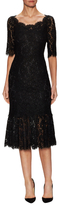 Dolce & Gabbana Lace Flounce Midi Dress