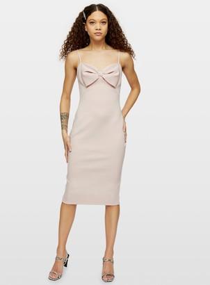 Miss Selfridge PETITE Pink Bow Scuba Midi Dress