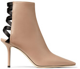 Jimmy Choo LEVIN 85 Ballet-Pink Leather Point-Toe Ankle Boots with Lace-up Ribbon Back