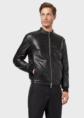 Giorgio Armani Reversible Tanned Nappa Leather And Embossed-Logo Velvet Blouson Jacket