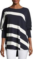 Lafayette 148 New York Dolman-Sleeve Bicolor Striped Matte Crepe Sweater, Ink/Cloud
