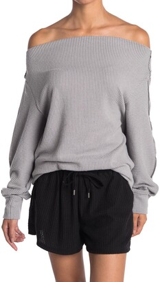 Gibson Off-the-Shoulder Ribbed Knit Top