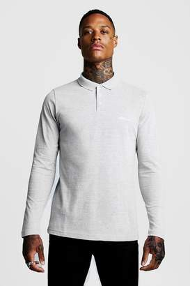 boohoo MAN Signature Long Sleeve Pique Polo