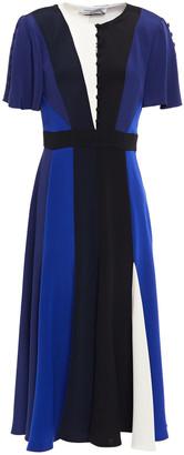 Prabal Gurung Button-detailed Color-block Silk-satin Midi Dress