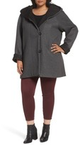 Gallery Plus Size Women's Hooded Double Face Knit Coat