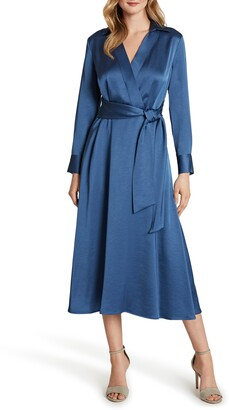 Tahari Wrap Front Long Sleeve Satin Midi Dress