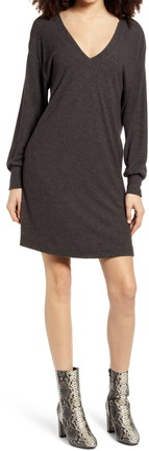 Socialite Double-V Long Sleeve Knit Dress