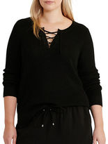 Lauren Ralph Lauren Plus Cotton-Blend Lace-Up Sweater