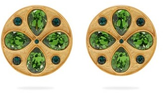 Rebecca De Ravenel Pamina Swarovski-crystal Clip Earrings - Womens - Green