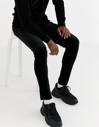ASOS DESIGN two-piece super skinny smart pants in pleated velvet in black
