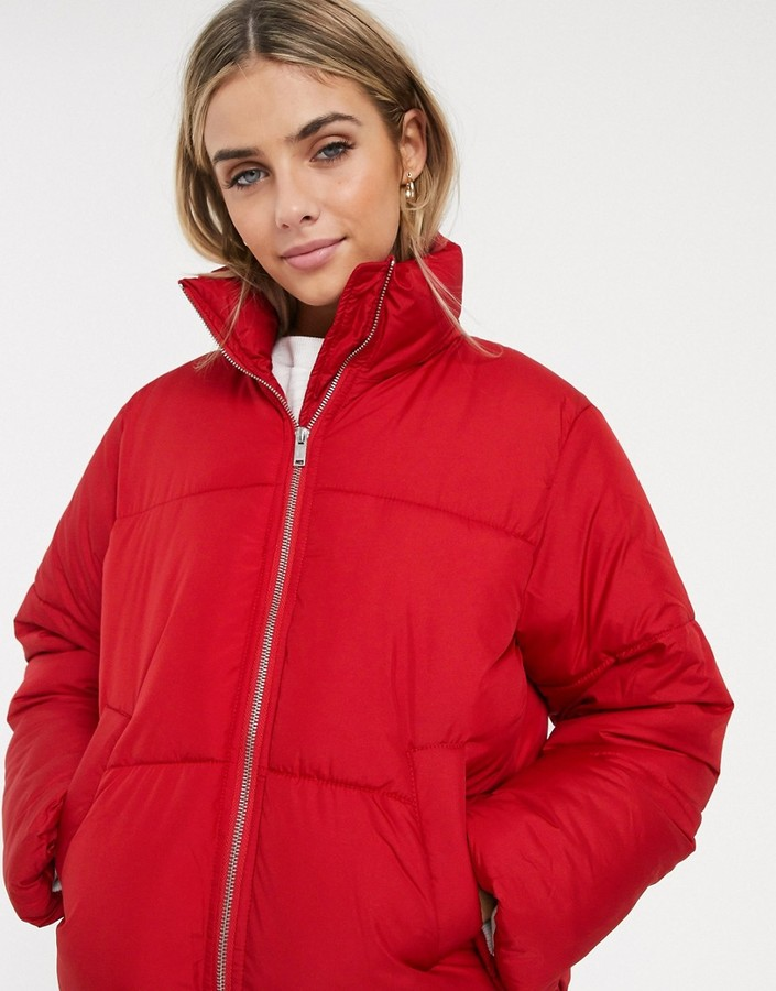 New Look boxy puffer jacket in bright red