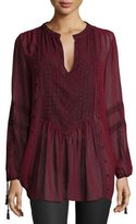 Calypso St. Barth Zandy Long-Sleeve Tunic, Dark Garnet