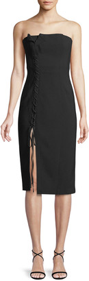 Cinq à Sept Charlotte Strapless Lace-Up Midi Dress