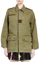 Saint Laurent Military Jacket W/Back Shark Patch, Olive