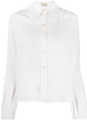 Saint Laurent Gathered-Detail Puff-Sleeve Shirt