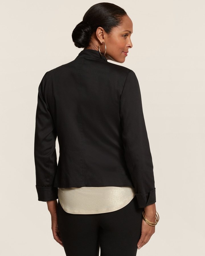 Chico's Cotton Sateen Moto Jacket