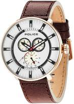 Police League White Multi Dial Brown Leather Strap Mens Watch