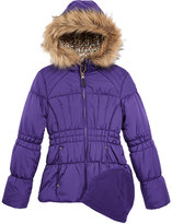 London Fog Hooded Puffer Coat With Faux-Fur Trim and Hat, Big Girls (7-16)