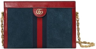 Gucci Red and navy Ophidia small suede and leather shoulder bag