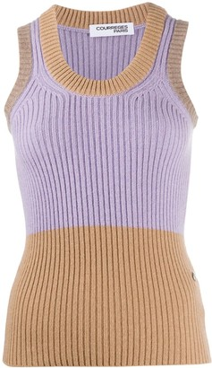 Courreges Bi-Colour Ribbed Tank Top